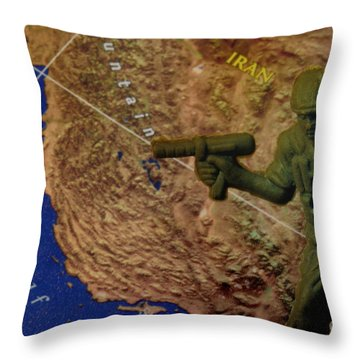 Armed Toy Solider With Middle East Map Throw Pillow by Amy Cicconi