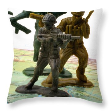 Armed Toy Soliders On Iraq Map Throw Pillow by Amy Cicconi
