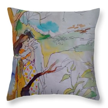 Arms Throw Pillow by Chintaman Rudra