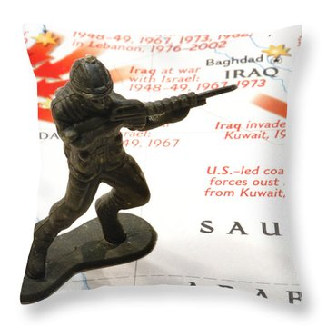 Army Man Standing On Middle East Conflicts Map Throw Pillow by Amy Cicconi