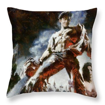 Throw Pillow featuring the painting Army Of Darkness by Joe Misrasi
