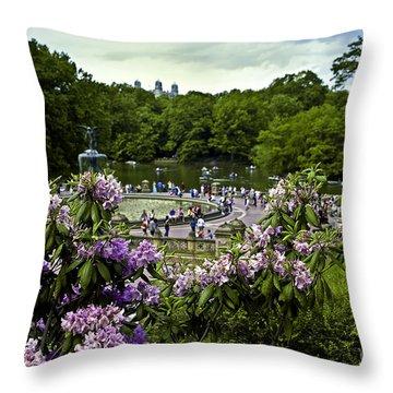 Around Bethesda Fountain Throw Pillow by Madeline Ellis