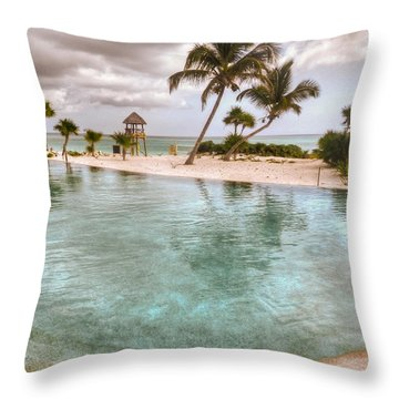 Around The Pool-waiting For The Storm Throw Pillow by Eti Reid