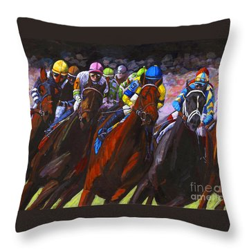 Around The Turn They Come Throw Pillow