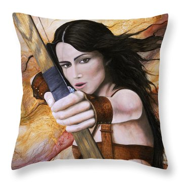 Arquera Throw Pillow by Angel Ortiz
