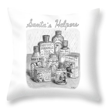 Array Of Fake Medicines And Products Designed Throw Pillow