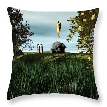 Throw Pillow featuring the digital art Arrival Of The Deceiver by John Alexander