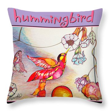 Throw Pillow featuring the drawing Hummingbird And Flower by Brooks Garten Hauschild