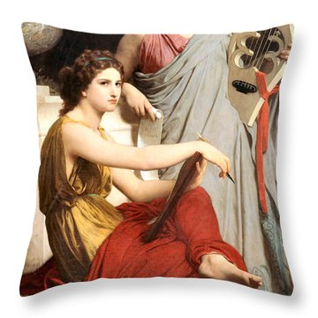 Art And Literature Throw Pillow by William Bouguereau