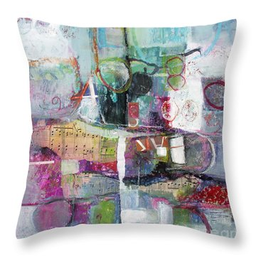 Throw Pillow featuring the painting Art And Music by Michelle Abrams