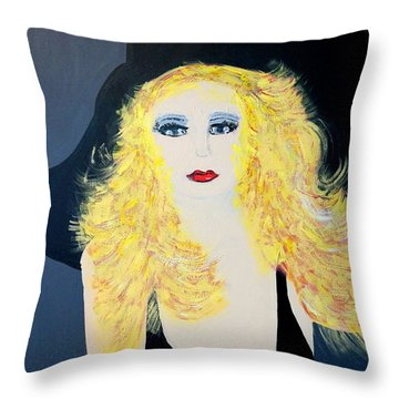 Art Deco Girl With Black Hat Throw Pillow