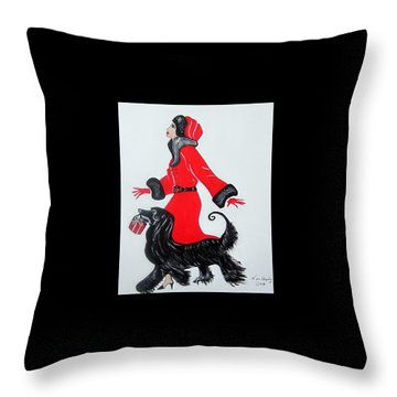 Art Deco  Girl With Red  Coat Throw Pillow