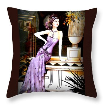 Art Deco Lady In Purple Throw Pillow by The Creative Minds Art and Photography