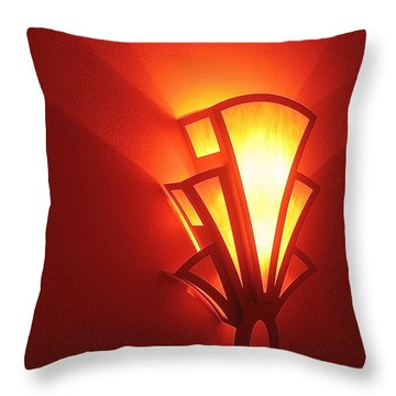 Throw Pillow featuring the photograph Art Deco Light Fox Tucson Arizona  Theater  2006 by David Lee Guss