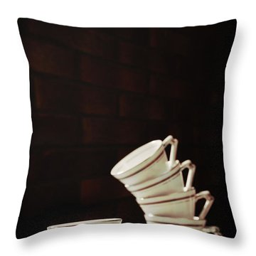 Art Deco Teacups Throw Pillow by Amanda Elwell