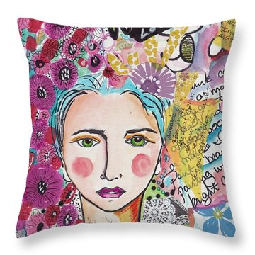 Art Journal Boho Girl Throw Pillow