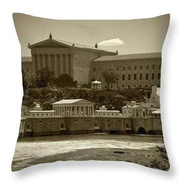 Art Museum And Fairmount Waterworks - Bw Throw Pillow
