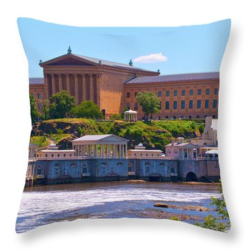 Art Museum And Fairmount Waterworks - Hdr Throw Pillow