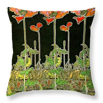Art Nouveau Poppies 1901 Throw Pillow by Padre Art