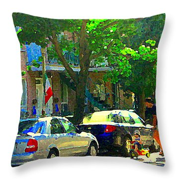 Art Of Montreal Day With Daddy And Yellow Wagon Zooming Our Streets Of Verdun Scene Carole Spandau  Throw Pillow by Carole Spandau