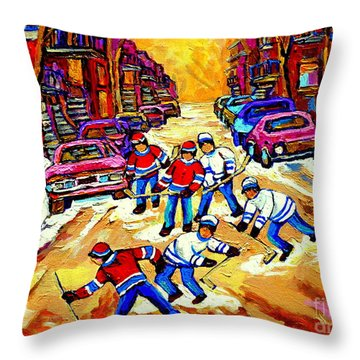 Art Of Montreal Hockey Street Scene After School Winter Game Painting By Carole Spandau Throw Pillow by Carole Spandau