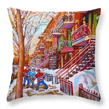 Art Of Montreal Staircases In Winter Street Hockey Game City Streetscenes By Carole Spandau Throw Pillow