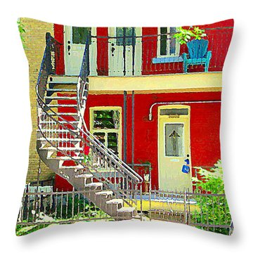 Art Of Montreal Upstairs Porch With Summer Chair Red Triplex In Verdun City Scene C Spandau Throw Pillow by Carole Spandau