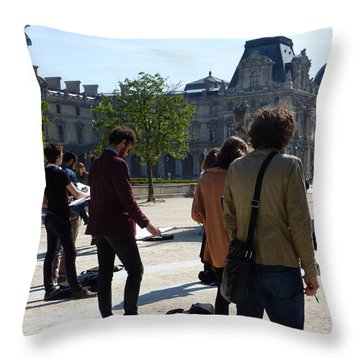 Art Students In The Tuileries Of Paris Throw Pillow by Susan Alvaro