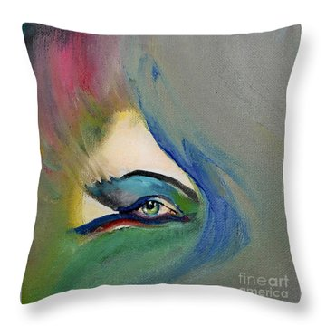 Throw Pillow featuring the painting Artful Eye Of Mine by Maja Sokolowska