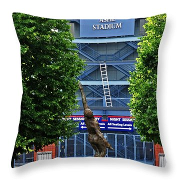 Arthur Ashe Stadium Throw Pillow by Mike Martin