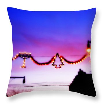 Throw Pillow featuring the photograph Arthur Avenue Holiday Lights by Aurelio Zucco