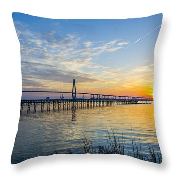 Calm Waters Over Charleston Sc Throw Pillow by Dale Powell