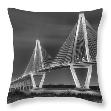 Arthur Ravenel Jr. Bridge In Black And White Throw Pillow by Adam Jewell