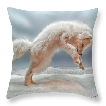 Artic White Wolf Throw Pillow by Joan  Minchak