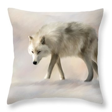 Arctic Wolf Throw Pillow by Johanne Dauphinais
