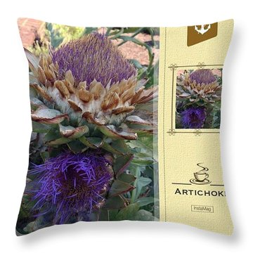 Artichoke In The Herb Garden Throw Pillow