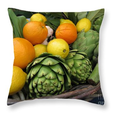 Artichokes Lemons And Oranges Throw Pillow