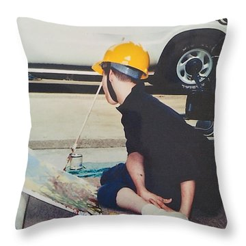 Throw Pillow featuring the painting Artist At 16 Yrs Old by Donald J Ryker III