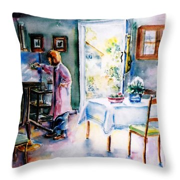 Throw Pillow featuring the painting Artist At Work In Summer  by Trudi Doyle