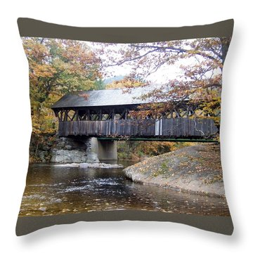 Artist Covered Bridge Throw Pillow by Catherine Gagne