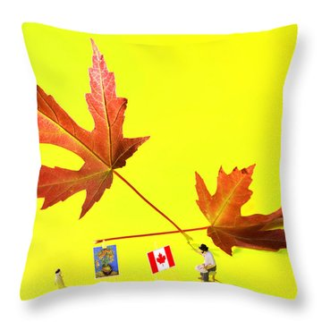 Artist De Imagination Little People Big Worlds Throw Pillow by Paul Ge