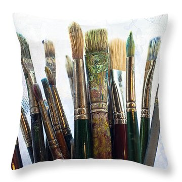 Artist Paintbrushes Throw Pillow by Garry Gay