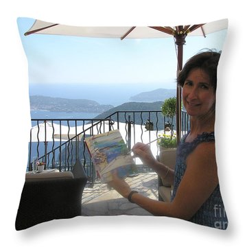 Artist Painting Monaco Throw Pillow by Valerie Freeman