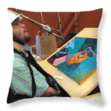Artist Working Throw Pillow