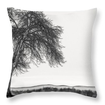 Artistic Black And White Sunset Tree Throw Pillow
