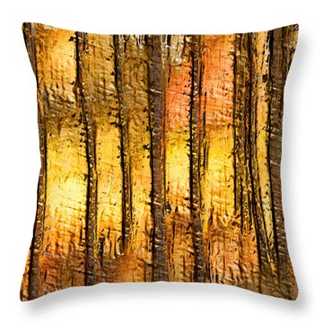 Artistic Fall Forest Abstract Throw Pillow