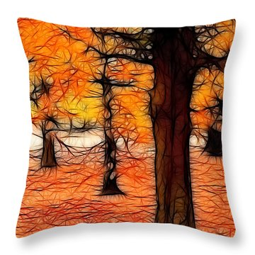 Artistic Fall Trees Throw Pillow