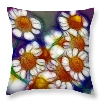 Artistic Feverfew Throw Pillow by Kaye Menner