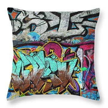 Artistic Graffiti On The U2 Wall Throw Pillow