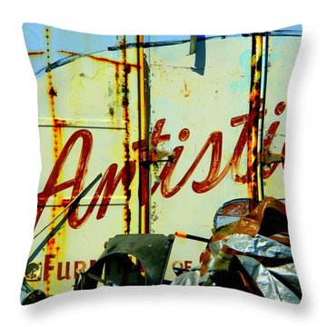 Artistic Junk Throw Pillow by Kathy Barney